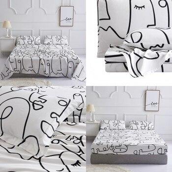 230tc Bed Linen Cotton Parure Sheet Set Bedding Set Bed Set Boho Bed Sheets Bed Cover Sets Fitted Sheet Flat Sheet Pillowcase SS