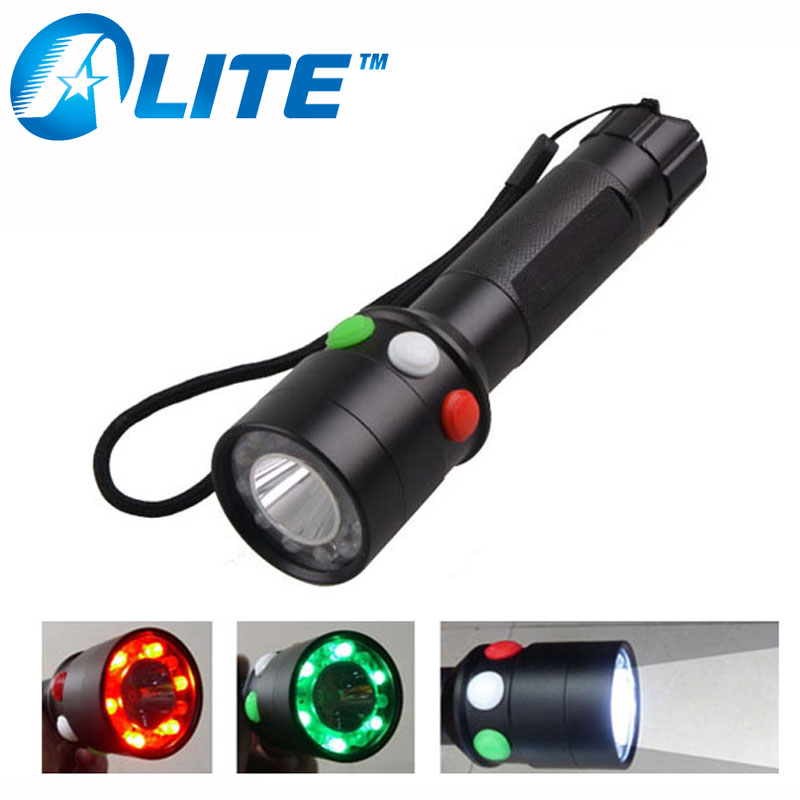 TMWT White Red Green LED Tricolor Rechargeable Railway Signal Lamp Torch Flashlight With Nylon Holster