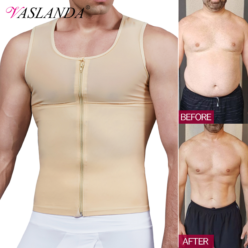 Mens Slimming Body Shaper Chest Compression Shirt Gynecomastia Moobs Undershirt Waist Trainer Belly Sweat Vest Workout Tank Tops