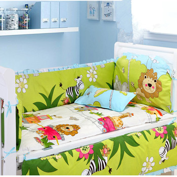 6PCS Forest Baby Crib Bedding Set bed linen Bed Baby Cot Protect Unpick Wash decoracao quarto bebe (4bumper+sheet+pillow cover)