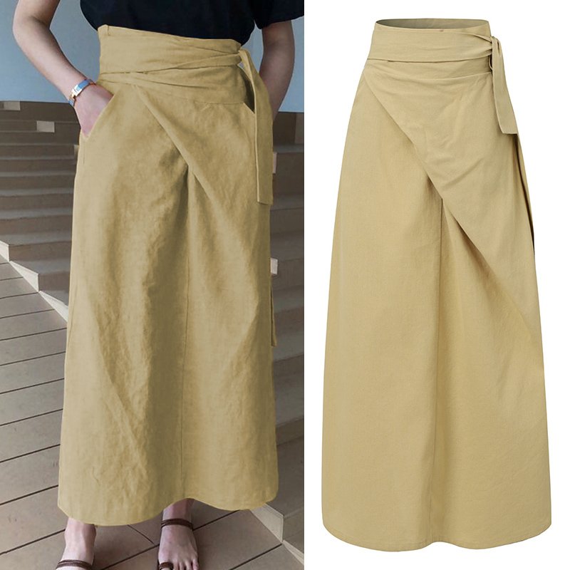 Vintage High Waist Maxi Skirts Women Long Skirt Celmia 2021 Fashion Bandage Casual Loose Solid Split Office Elegant Skirts 5XL 7
