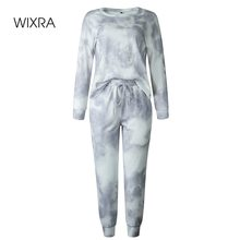 Wixra Women Suits Leisure Home Wear Suit Spring Autumn Long Sleeve O-Neck Tops+Lace-Up Long Pants 2 Piece Sets
