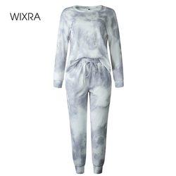 Wixra Vrouwen Suits Leisure Homewear Pak Lente Herfst Met Lange Mouwen O-hals Tops + Lace-Up Lange Broek 2 stuk Sets