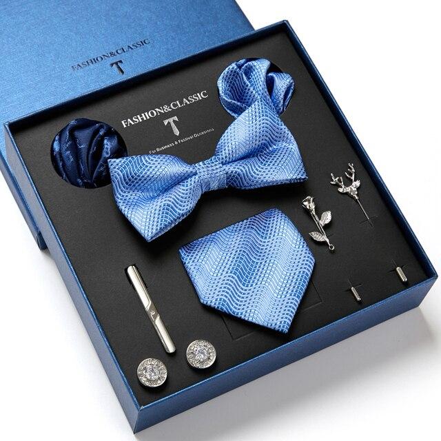 Gentlemen's Luxury Set - Bowtie Tie, Tie, Clips Lapel Pin, Hanky & Cufflink 4