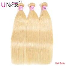 Unice włosy brazylijski proste włosy 3 wiązki wysoki stosunek 613 # 100% wiązki ludzkich włosów doczepy z włosów typu remy 16-24 Cal