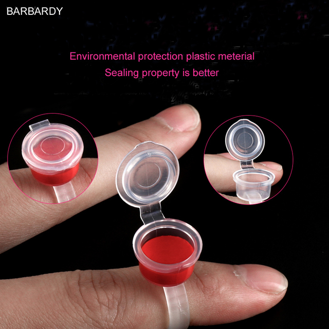 50pcs/lot Permanent Makeup Accessories Supply Microblading Pigment Holder Tattoo Ring Ink Cup Glue Holder for Eyebrow Extension