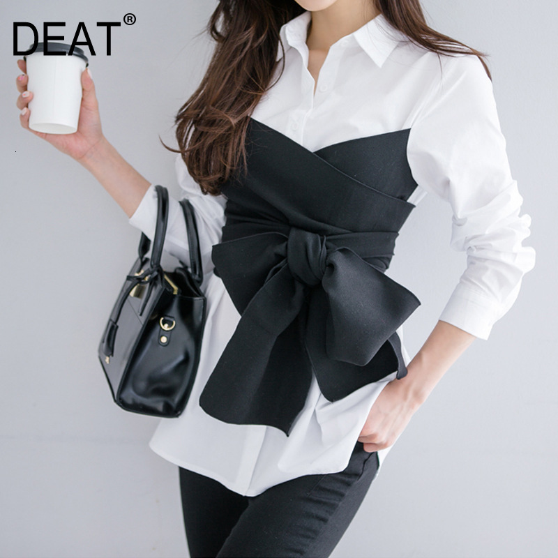 DEAR 2020 New Spring Fashion Korean Girl's Shirt Turn-down Collar Bow Waist Patchwork Fake Two Pieces Girl's Blouse WE10301L