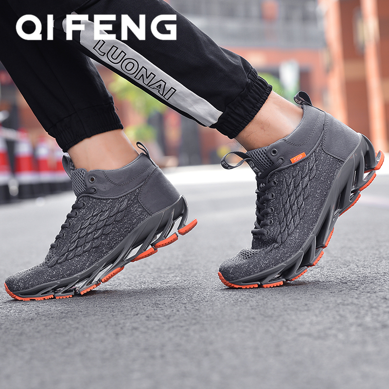 2020 New Spring Men's Running Shoes Black Mesh High-top Sneakers Mens Footwear Warm Fur Fashion Chinese Red Shoes Blade Sneaker