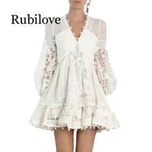 Rubilove Women Autumn Mini Dress 2019 New Arrival Lace Patchwork Floral Embroidery Party Dresses Long Lantern Sleeves