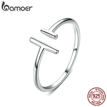 bameor Authentic 925 Sterling Silver Simple Minimalist Open Adjustable Finger Rings for Women Fashion Band Female Bijoux SCR555