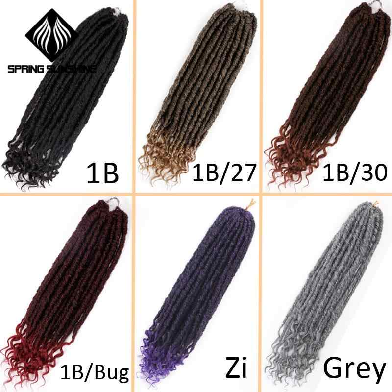 Spring sunshine Goddess Hair Ombre Faux Locs Crochet Braids 16 20inch Soft Natural Braid Synthetic Braiding Hair Extension
