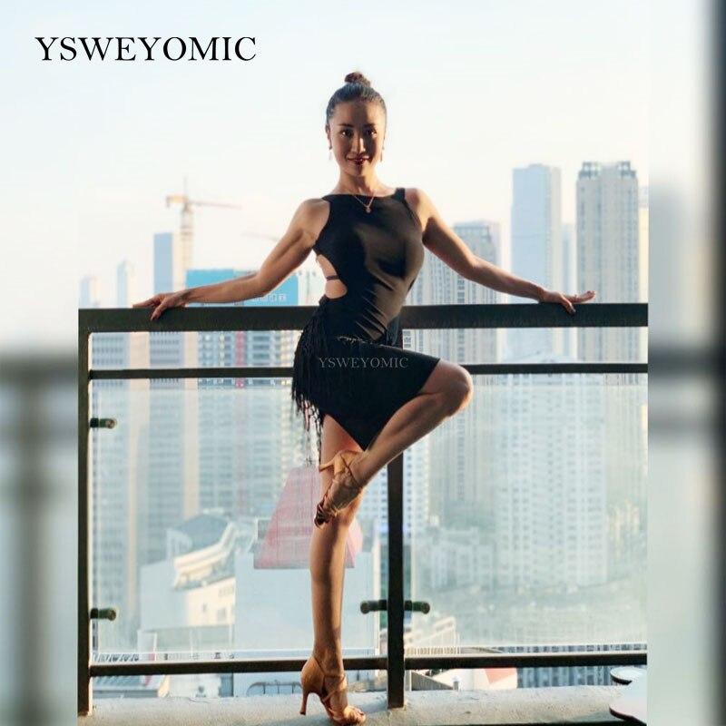 Girls Latin Dance Practice Dance Clothes Open Back Tassel Beauty Back Salsa ChaCha Latin Dance Dress For Women L213