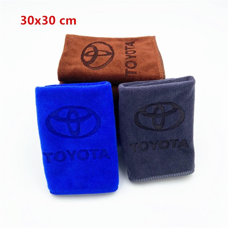 30x30 For Toyota Camry Chr Corolla Rav4 Yaris Prius Microfiber Car Logo Towel Car Wash Clean Towel Car Accessories