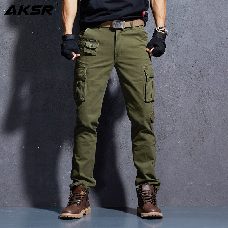 AKSR Men's Fashion Casual Cotton Cargo Pants Large Size Flexible Tactical Military Camo Pants Khaki Pants Man Trousers Joggers