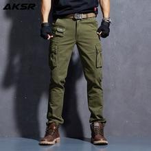 AKSR Men's Fashion Casual Cotton Cargo Pants Large Size Flexible Tactical Military Camo Pants Khaki Pants Man Trousers Joggers