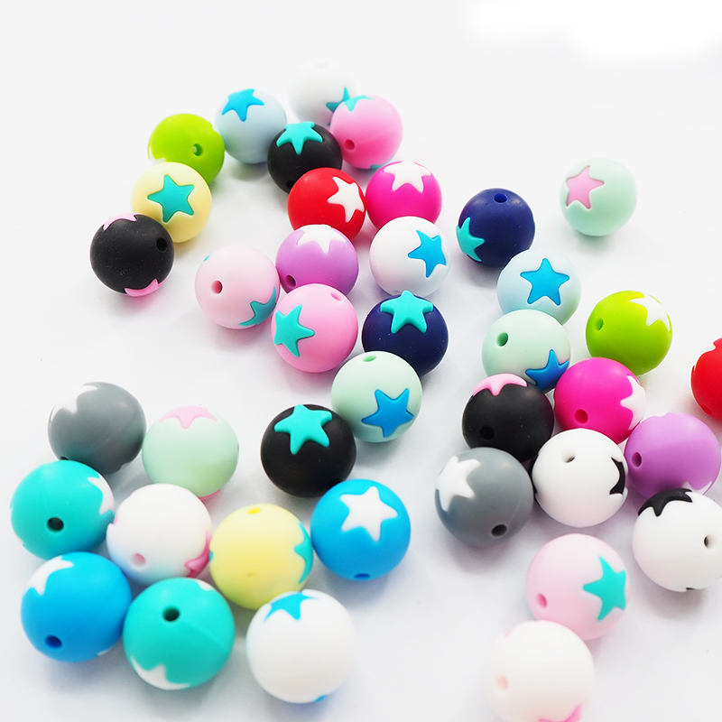 Chenkai 10PCS Silicone Star Teether Beads Round Shaped Teether Beads Baby Chewable Pacifier For DIY Bracelet Necklace Chain
