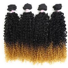 Afro Kinky Curly Hair 22'' 4 Bundles Synthetic Hair Weave 200g Ombare Color Soft Smooth Thick Kinky Curl Hair Extension(China)
