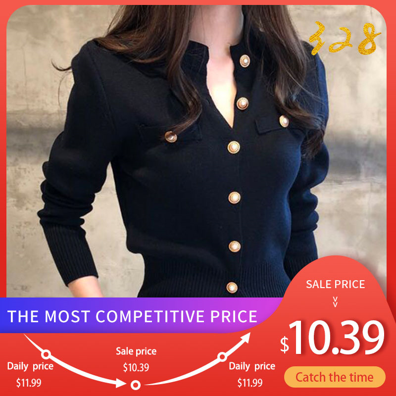 Knitted Women's Short Cardigan Sweater Korean Single Breasted Long Sleeve Sweaters Female 2020 Autumn Spring Cardigans Women