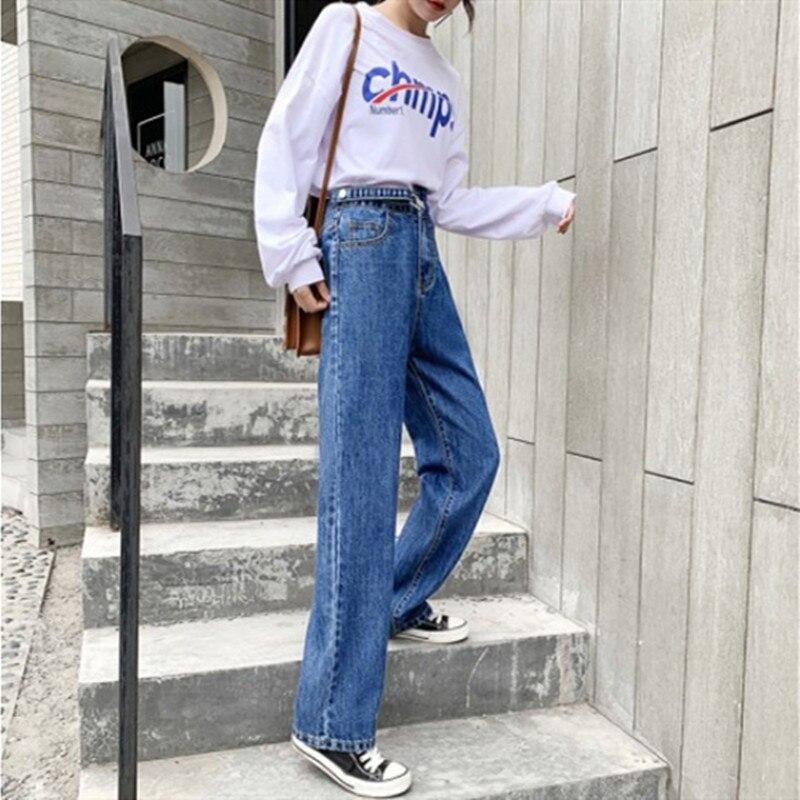 Woman Jeans High Waist Grey Jeans 2019 Autumn Winter For Clothes Wide Leg Denim Clothing Blue Streetwear Fashion Vintage Pants
