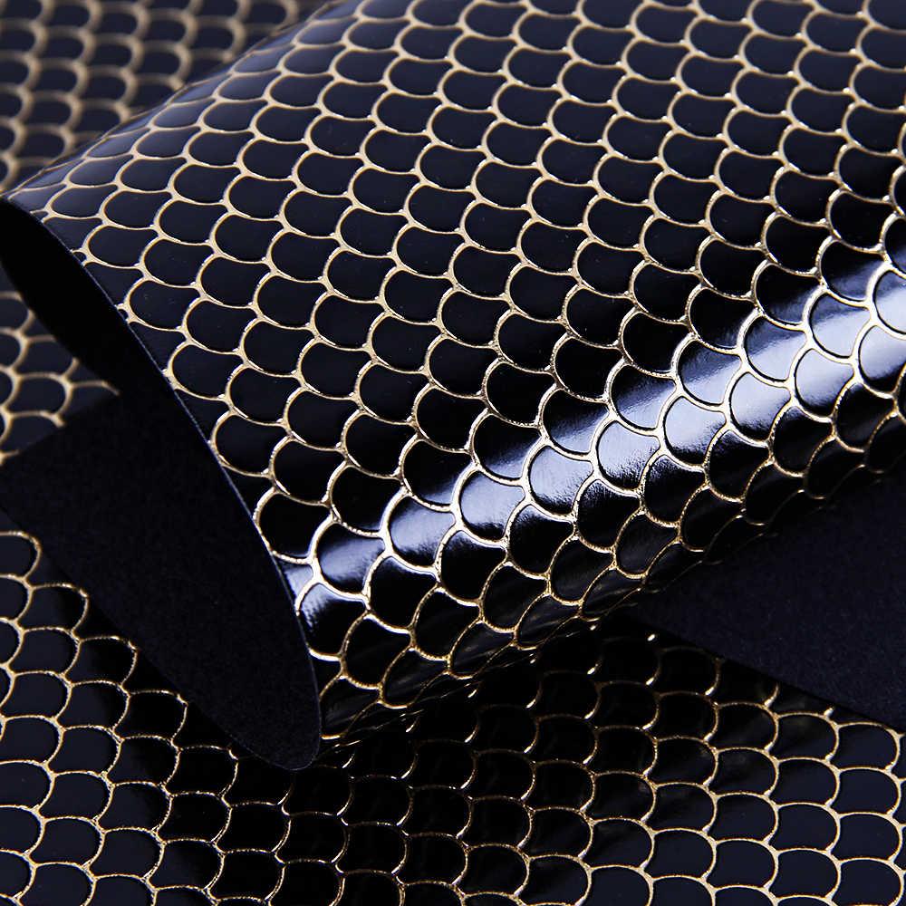 Avid accesorios 20*34cm serpiente de pescado Escala de piel sintética falsa Patchwork para el cabello bolsos con lazo de la cubierta del teléfono de DIY proyectos 1Yc3369