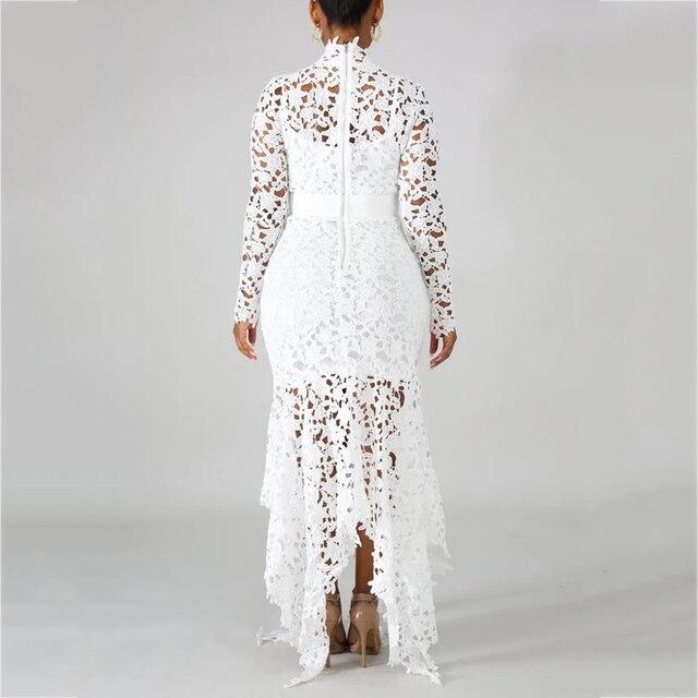 Elegant Vintage Party Sexy Black Lace Long Dress Plus Big Size Large M-3XL Women Mesh Hollow Bodycon White Maxi Dress Ladies 4