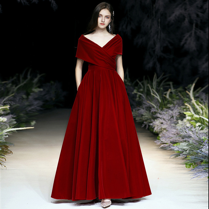 Gengli Toast Dress The Bride Wine Red Autumn/winter Temperament Noble Sexy V-neck Velvet Gown Female Elegant Long Marriage