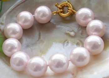 """N1417 BEAUTIFUL 16MM RARE PINK ROUND SOUTH SEA SHELL PEARL BANGLE 8"""" BRACELET 2PC Natural >>"""
