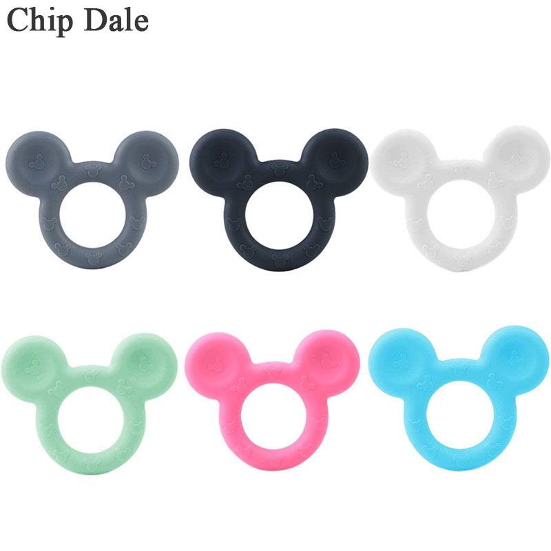 Chip Dale 1pc Mouse Shaped Baby Silicone Teethers Food Grade Silicone Beads For DIY Teething Pendant Infant Baby Teething Toys