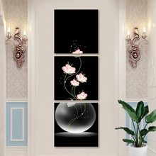 3 Panels Wall Art Vase with Flowers Posters and Pints Modular Canvas Painting Pictures For Porch Corridor Home Decor