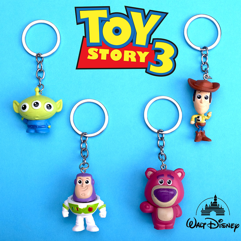 Disney Cute Movie Toy Story 4 Woody Buzz Lightyear PVC Action Figure Keychain Jessie Woody KeyRing Toys for Children Gift