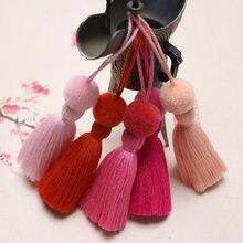 6 pçs pompon bola borla franja diy chaveiro saco de fazer jóias encantos cortina pingente acessórios artesanato pendurado borlas guarnição
