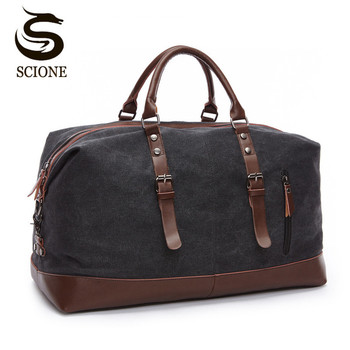 Scione Canvas Leather Men Travel Bags Carry on Luggage Bag Duffel Tote Large Weekend Overnight Male Handbag