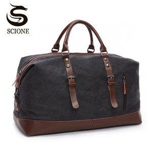 Image 1 - Scione בד עור גברים לשאת על מזוודות תיק גברים תרמיל שקיות נסיעות Tote גדול בסוף השבוע תיק לילה זכר תיק