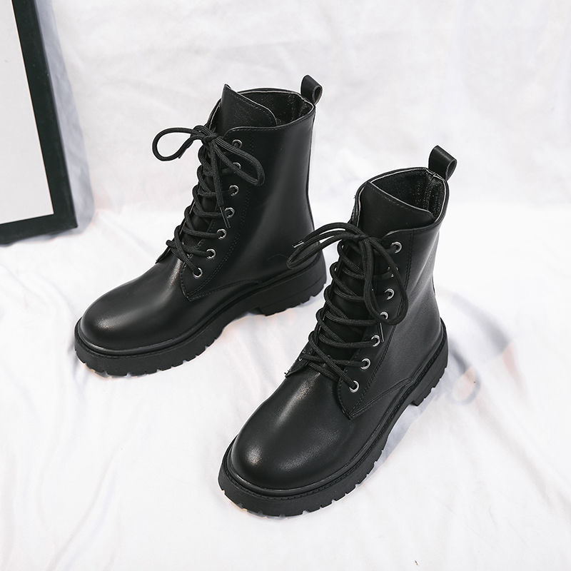 Sunny Black Leather Boots Women British Style 2020 New Autumn Retro Wild Thick-soled Increased Motorcycle Boots Women Platform Shoes