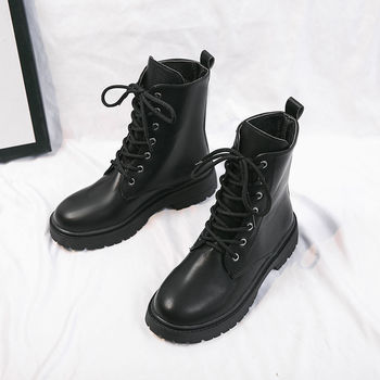 Black Leather Boots Women British Style 2020 New Autumn Retro Wild Thick-soled Increased Motorcycle Platform Shoes