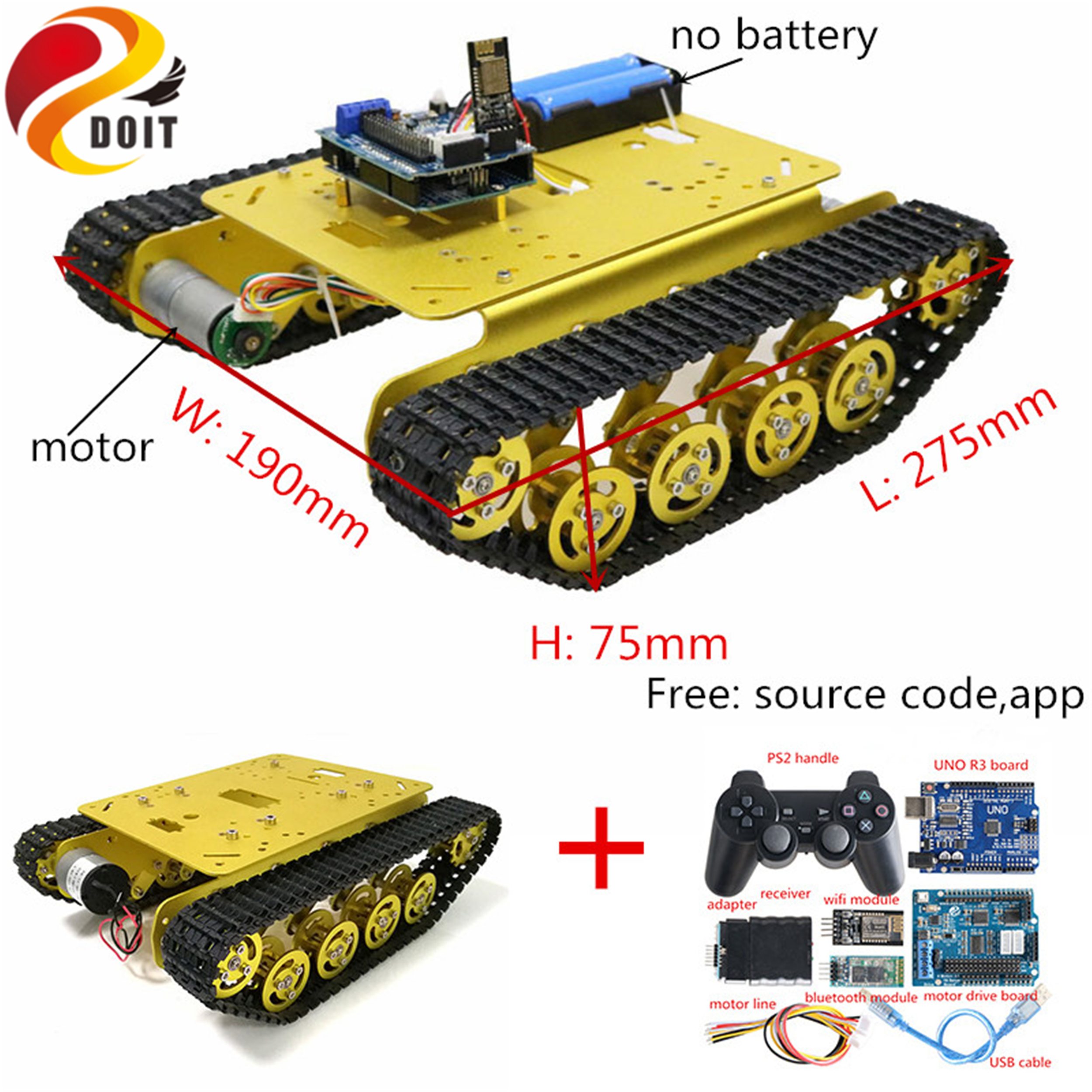 SZDOIT Wifi/Bluetooth/Handle Control <font><b>TS100</b></font> Metal Rc <font><b>Tank</b></font> Chassis Smart Crawler Shock Absorption Robot Kit DIY For Arduino Toys image