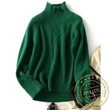 20 jesienne zimowe ubrania damskie nowy 100 sweter z czystego kaszmiru kobieta moda z dzianiny golfem kobiet luźna zielona sweter sweter tanie tanio ahuibvb CASHMERE Z wełny CN (pochodzenie) Zima CASHMERE(CASHMERE) Komputery dzianiny Stałe REGULAR Swetry fashion Pełna