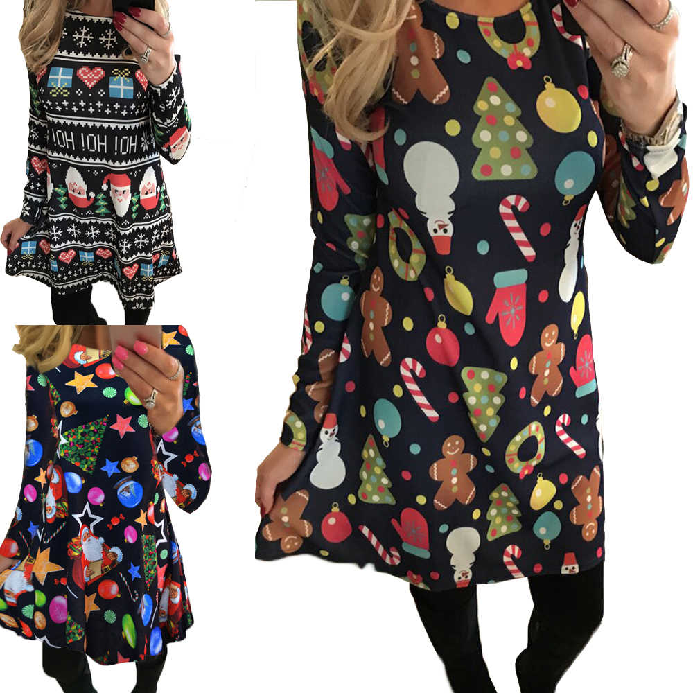 2019 Autumn Women Christmas Dress 5XL Plus Size New Year Festival Large Size Long Sleeve Tree Casual Vintage Winter Dress Ladies