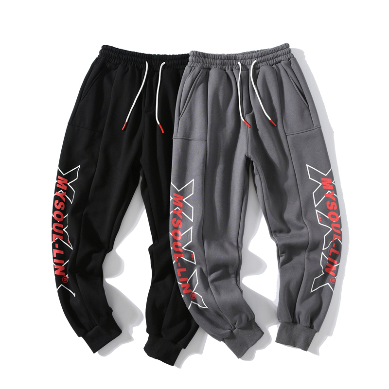 Aolamegs Sweatpants Side Letter Printed Joggers Pants Men Elastic Waist Casual Track Trousers Loose All-match Fashion Streetwear
