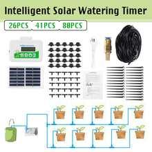 26/41/80 pces inteligente jardim automático rega dispositivo de energia solar planta irrigação por gotejamento sistema temporizador da bomba de água flores cuidados