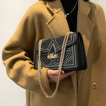 Fashion Embroidery Thread Women Shoulder Bags Designer Handbags Luxury Pu Leather Chains Crossbody Messenger Bag Lady Small Flap fashion lingge chains crossbody bags for women designer handbags luxury pu leather shoulder messenger bag lady small flap 2020