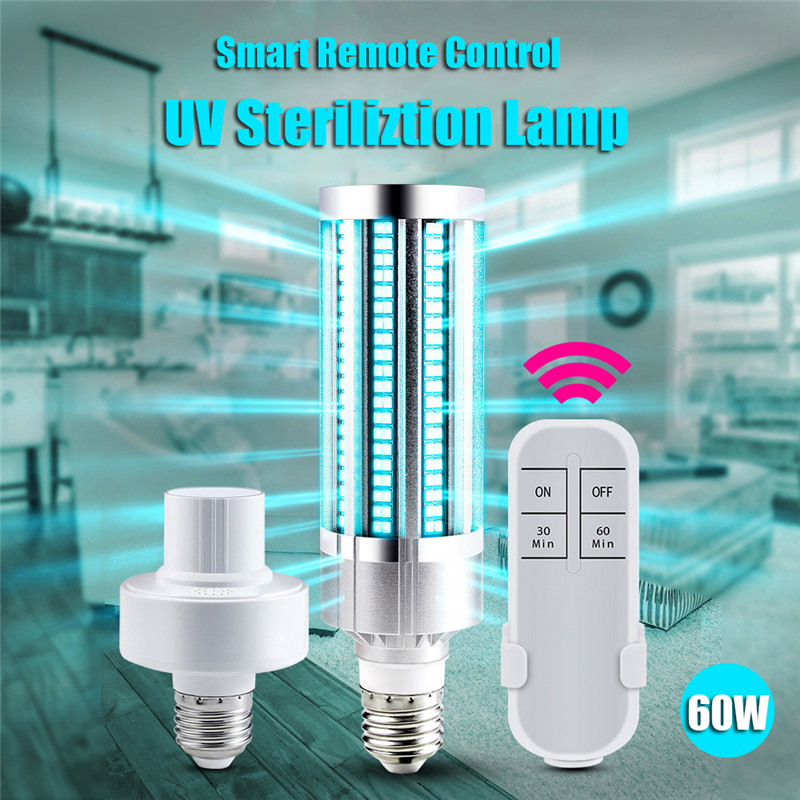 E27 60W UV Germicidal Lamp Led UVC Light Bulb 99% Antibacterial Rate Purifies The Air And Killing Bacteria For Air Kill Mites