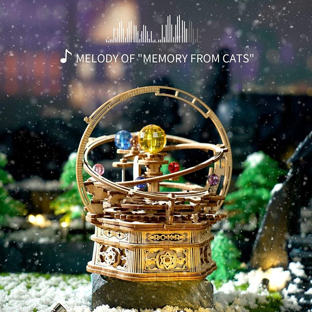 Robotime Rokr 84pcs Rotatable DIY 3D Starry Night Wooden Model Building Kits  Assembly Music Box Toy Gift for Children Adult 2
