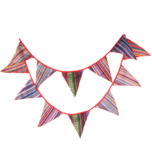 Bunting Banner Flags Fabric Floral Geometric Pattern Flag Pennant Garland for Bedroom Indoor Outdoor Party Decorations
