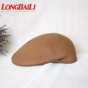 Inverno sólido cor vermelha lã feltro viseira chapéus para mulheres boinas ajustável bonés frete grátis pwfr037