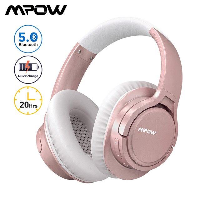 Mpow H7 Pro bezprzewodowe słuchawki Bluetooth 5.0 Hi Fi Stereo dźwięki wsparcie szybkie ładowanie 20H czas odtwarzania dla iPhone 11 Huawei P30 Lite