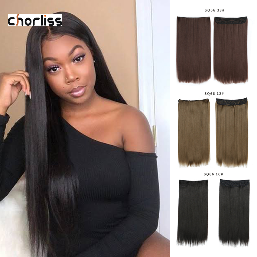 Pre Loop Hair Weaves Invisible Wire No Clip One Piece Halo Hair Extension Flip In False Hair  Pieces Synthetic Hair For Women