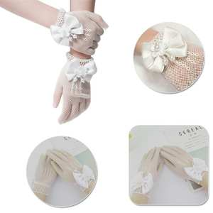 Fishnet Gloves Bride-Accessories Communion Ceremony Lace Party-Flower Girl Cream W1E6