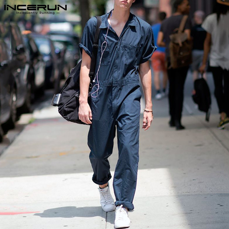 INCERUN 2020 Men Jumpsuit Casual Pants Joggers Solid Baggy Streetwear Shortsleeve Rompers Fashion Men Cargo Overalls Plus Size
