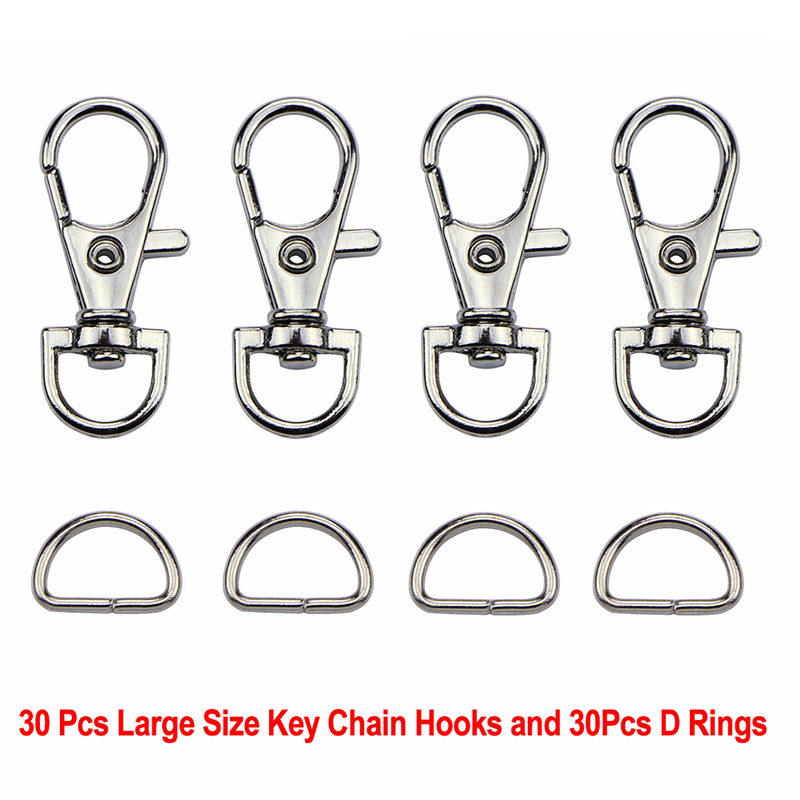 60Pcs/Set Silver Metal Lobster Trigger Swivel Clasp Hooks Clip Buckle For Bag Parts & Accessories (30pcs Clasps +30pcs D Ring )